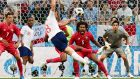Panama defender Roman Torres   reacts as England midfielder Jordan Henderson fires a shot at goal. Photograph:   Getty Images