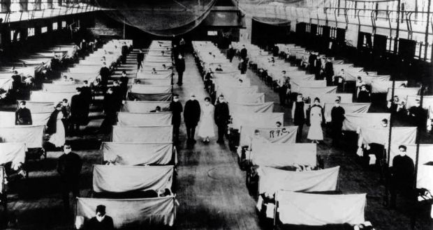 Patients quarantined in a warehouse during the 1918 influenza pandemic which caused  20,000 deaths in Ireland, with another 800,000 infected.  Photograph:  Universal History Archive/UIG via Getty Images