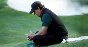 Mickelson got caught on camera with his competitive flies open. An elite sportsman in pursuit of the one big prize that has eluded him through a gilded career saw his chances of victory disappearing down the green. Instinct took over. Photograph: Getty Images