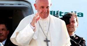 Pope Francis waves as he leaves Geneva on June 21st after a one-day visit at the invitation of the WWC. Phopotgraph: AFP