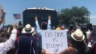 Emotional scenes as protesters block bus carrying immigrant children in Texas