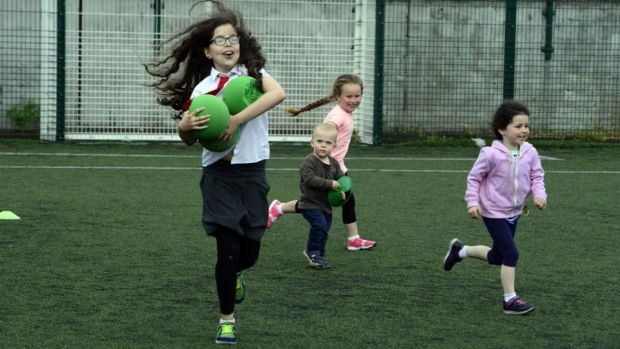 Fun Direction: girls at one of Ciaran Duffy's training sessions. Photograph: Cyril Byrne