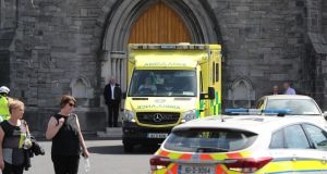 An ambulance in the grounds of the Church of the Immaculate Conception in Clondalkin. Photograph: Niall Carson/PA Wire