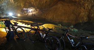 Bicycles belonging to members of the boys' football team who have been missing in a cave in Thailand's Chiang Rai province since the weekend. Photograph:  Krit Promsakla Na Sakolnakorn/AFP/Getty Images