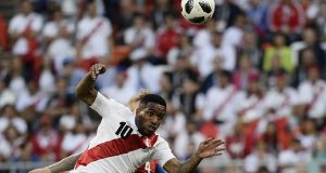 Peru's forward Jefferson Farfan will miss their final group game after suffering a head injury. Photo: Filippo Monteforte/Getty Images