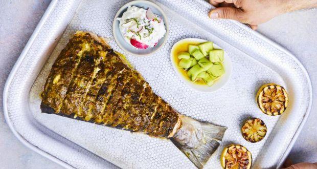 Arun Kapil S Blackened Goan Salmon Tail With Turmeric Cuber Mint And Radish Riata