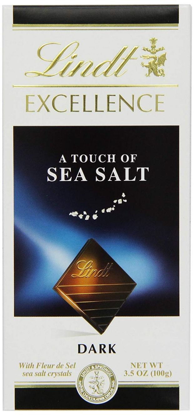 If you don't see a cocoa level percentage on the front of a bar, such as with Lindt's Excellence Dark Touch of Sea Salt, it may have less than 50 per cent