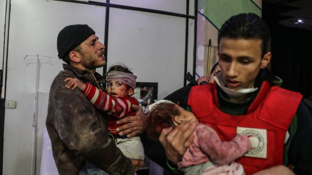 Injured children at a hospital in rebel-held Douma, eastern Ghouta, Syria. Photograph: Mohammed Badra