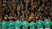 The Ireland team sing the national anthem during the third Test at the Allianz Stadium in Sydney. Photograph: Mark Kolbe/Getty Images