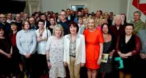 Arts Council chairwoman Sheila Pratschke,  Minister for Arts Josepha Madigan and Arts Council director Orlaigh McBride along with Irish artists and arts organisations at the Arts Council during the Minister visit.
