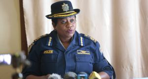 Zimbabwe Republic Police senior assistant commissioner Charity Charamba speaking at a press conference in Harare, Zimbabwe, on Sunday. Photograph: Aaron Ufumeli/PA