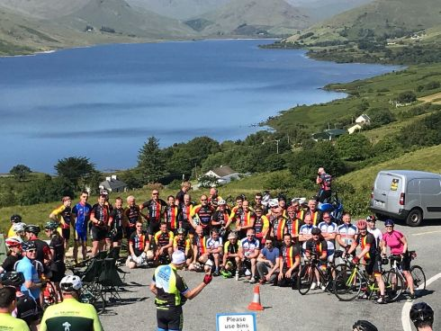 Participants in the Great Western Lakes cycling sportive on the top of Maamtrasna on Sunday. Photograph: Eimear Flannery