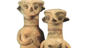 Female figurines, Late Cypriot II Period 1450–1200BC. Image courtesy of The Leventis Municipal Museum, Nicosia, Cyprus