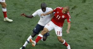 France's Ngolo Kante and Denmark's Martin Braithwaite battle for the ball during their Group C clash in Moscow.  Photo: Victor R. Caivano/AP Photo