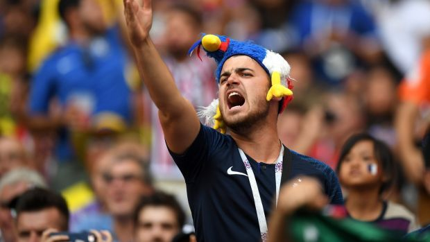 A French fan voices his displeasure. Photo: Matthias Hangst/Getty Images