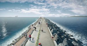 Artist's impression of the  Tidal Lagoon Power  project at Swansea Bay, south Wales.