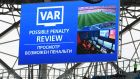 The big screen inside the stadium displays a VAR penalty review during the  Group A match between Saudia Arabia and Egypt at Volgograd Arena in Volgograd, Russia. Photograph: Shaun Botterill/Getty Images