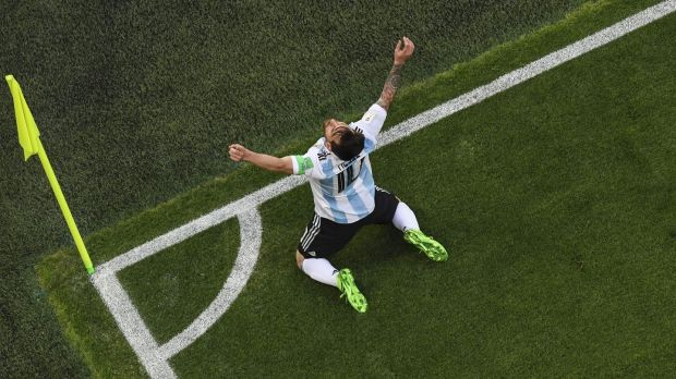 Argentina's Lionel Messi celebrates his goal. Photo: Kirill Kudryavtsev/Getty Images