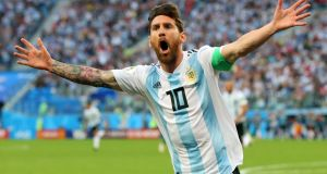 Messi  after scoring his team's first goal against  Nigeria  at Saint Petersburg Stadium. Photograph:   Alex Livesey/Getty Images