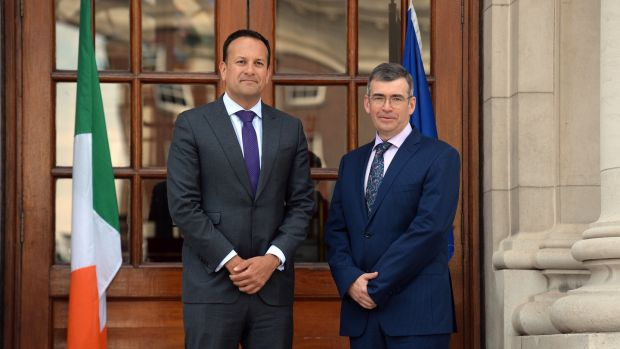 Taoiseach Leo Varadkar and Drew Harris at Government Buildings on Tuesday. Mr Harris is currently the Deputy Chief Constable of the Police Service of Northern Ireland. Photograph: Cyril Byrne