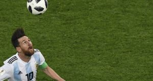 Argentina's Lionel Messi during his team's win over Nigeria. Photograph: Getty Images