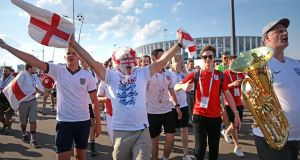 England fans in Nizhny Novgorod celebrate after their match against Panama. Photograph: PA
