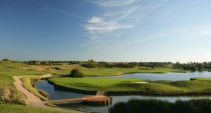 A view from behind the green on the 450 metre, par 5, 18th hole in Paris. Photograph: David Cannon/Getty Images