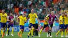 Sweden celebrate after winning their Group F encounter with mexico at the 2018 World Cup to advance to the round of 16. Photo: Eduardo Verdugo/AP Photo