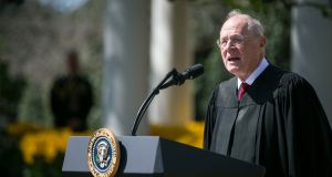 US supreme court justice Anthony Kennedy, who has announced his retirement, speaking in the Rose Garden of the White House last year. Photograph: Al Drago/New York Times