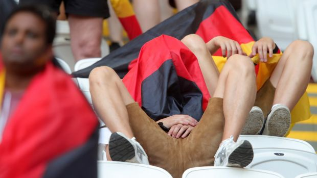 German supporters at the end of the game. Photo: Alexander Hassenstein/Getty Images