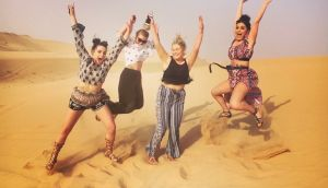 Lauren Reilly (second from right) and friends have fun in the sun in Abu Dhabi