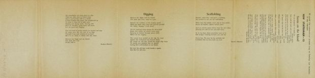 Seamus Heaney: galley proofs for Digging, among other poems, which appears in Death of a Naturalist. Courtesy National Library of Ireland