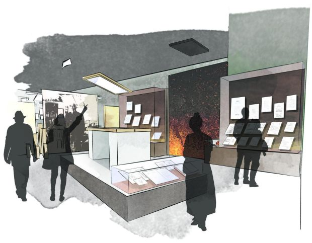 Seamus Heaney: Listen Now Again: how the Creativity section of the exhibition will look. Illustration courtesy National Library of Ireland