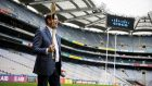 Chuck Robbins in Croke Park this week. He  got to swing a hurley on the hallowed turf.
