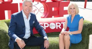 Champions League panellist Graeme Souness and TV3 sports presenter Sinéad Kissane at TV3's Upfront event in Dublin. TV3 is rebranding to Virgin  Media Television from the autumn. Photograph: Brian McEvoy
