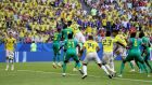 Yerry Mina of Colombia scores his team's goal during the World Cup Group H match against Senegal at Samara Arena. Photograph: Michael Steele/Getty Images