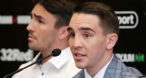 Michael Conlan talks at a press conference ahead of his fight against Brazilian Adeilson Dos Santos in Belfast on Saturday night. Photograph: Jonathan Porter/Inpho/Presseye