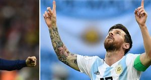 France's  and Argentina's  Lionel Messi whose teams will meet in the last  16 clash on Saturday. Photograph: Simon Christophe/AFP/Getty
