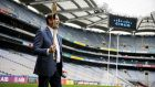 Cisco chief executive Chuck Robbins tests out his hurling skills on a visit to Croke Park this week.