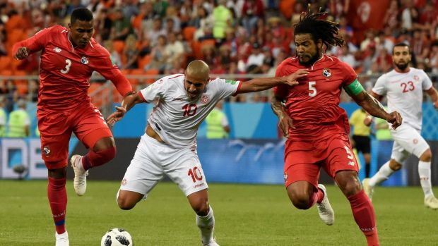 Tunisia's forward Wahbi Khazri is challenged by Panama's defender Harold Cummings and Roman Torres. Photograph: Juan Berreto/AFP/Getty