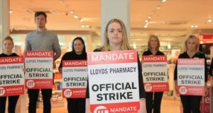 Amy Bannon, worker at Lloyds Pharmacy in Nutgrove Shopping Centre, where the staff held an official strike last Friday. Photograph: Garrett White/The Irish Times