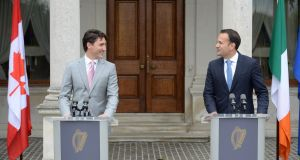 Justin Trudeau, prime minister of Canada with Taoiseach Leo Varadkar. Photograph: Dara Mac Dónaill / The Irish Times