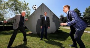 World Cup fever: Eamon Dunphy, Darragh Maloney and Damien Duff at RTÉ's Montrose campus.