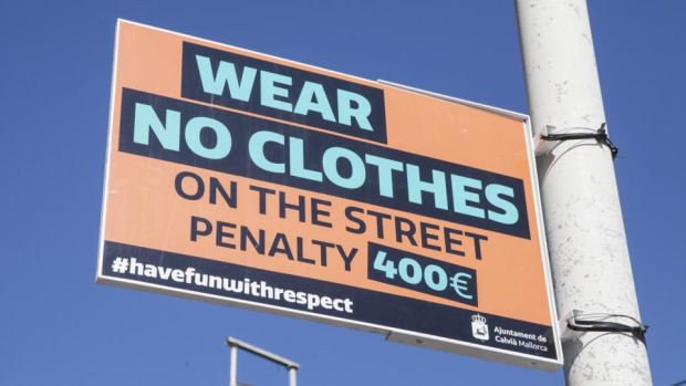 Santa Ponsa and Magaluf: new public-disorder penalties include €400 fines for nudity. Photograph: Tomeu Coll