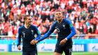 Kylian Mbappe (right) celebrates scoring France's winner against Peru with Anoine Griezmann.  France have managed just three goals to date – fewer than any other group winners. Photograph: Anne-Christine/AFP/Getty