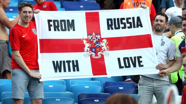 England fans celebrating victory over Panama at Nizhny Novgorod Stadium on June 24th. Photograph: Alex Morton/Getty Images