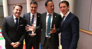 Taoiseach Leo Varadkar with Luxembourg's prime minister Xavier Bettel, Spain's prime minister Pedro Sánchez and Austria's chancellor Sebastian Kurz. Photograph: Twitter