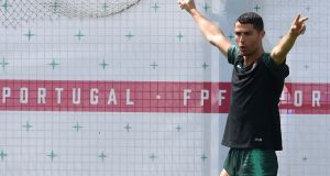 Cristiano Ronaldo  during a training session at the team's base in Kratovo before the last 16 clash with Uruguay in which he will be up against some familiar foes. Photograph: Francisco Leong/AFP/Getty