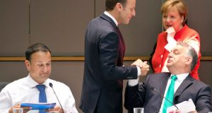 Taoiseach Leo Varadkar, French president Emmanuel Macron, Hungarian prime minister Viktor Orban and German chancellor Angela Merkel at an EU summit   breakfast meeting in Brussels. Photograph: Virginia Mayo/AP