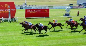 Battle of Jericho ridden by Ryan Moore (far left) wins the Tote Rockingham Handicap   at the Curragh. Photograph:  PA Wire